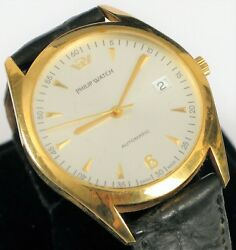 Philip Watch 18k Solid Yellow Gold Menand039s Skeleton Back Day Date Automatic 25j