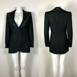 Rare Vtg Givenchy Couture By Alexander Mcqueen Black Circuit Board Beaded Jacket