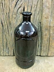 Old Vintage Apothecary Pharmacy Pill Medicine Unique Black Amber Glass Bottle