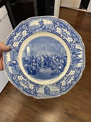 """Antique Plate Marriage Of Pocahontas Strong Blue Crown Ducal 10 1/2"""""""