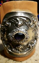 Gladiator Wonder Women Sterling Silver Repurposed Bracer With Ameythest, Leather