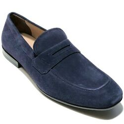 New Ferragamo Penny Navy Blue Suede Leather Dress Loafers Men's Casual Moccasin