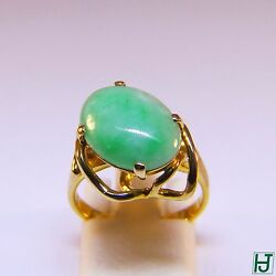 New Oval Green Jade Ring With Polished And Florentine 14k Yellow Gold Size 6.5