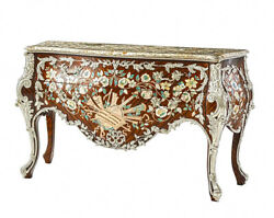 French Rococo Louis XV Bombe Dresser Commode Inlaid Rosewood Mother of Pearl New