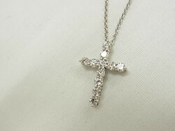 And Co. Pt950 Diamond Cross Necklace Platinum From Japan [h1231]