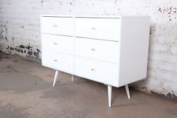 Paul Mccobb Planner Group White Lacquered Six-drawer Dresser Or Credenza