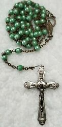 Authentic Antique Roma And Italy Signed Faith Prayer Guide Cross Rosary Necklace