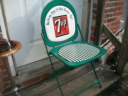 Rare 7up Soda Bottle Metal Sign Folding Chair Promotional Advertising Chair Rare