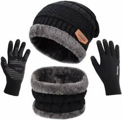 Maylisacc Winter Knit Beanie Hat Neck Warmer Scarf And Touch Screen Gloves Set 2