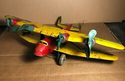 Rare Marx   14 Tin Us Mail Biplane Airplane   Motor Does Not Work   Shows Wear