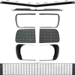 1967-68 Chevrolet Camaro Rs Grill Kit W/silver Trim And W/headlamp Bezels