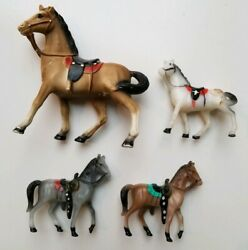 Vintage Horses Plastic Lot of 4 Pieces 1960s Toys Western Playset Painted