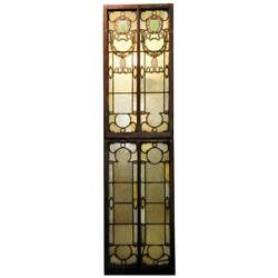 Antique American Brooklyn Hall Of Records Stained Glass Window 19th Century