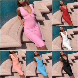 Sexy Double Deep V Neck Summer Women Cut Out Bandage Bodycon Evening Party Dress