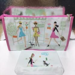 New Clinique Cosmetic Bag Travel Zip Top Bloomingdale#x27;s Cafe Flower Beach Park $7.99