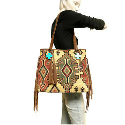 Raviani Navajo Tapestry Fringe Tote Bag With Turquoise Cross Ornament And Leather