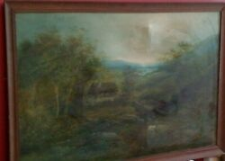 Fine 20th C,english School, Framed Oil On Canvas.cottage And Landscape Study.