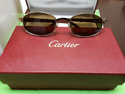 CARTIER WOODGOLD FRAME SUNGLASSES NIB VERY RARE MODELMADE IN FRANCE