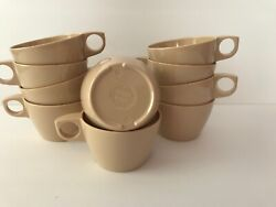 Vintage Texas Ware Cream Ivory Or Tan Melamine Stackable Coffee Cups Set Of 10