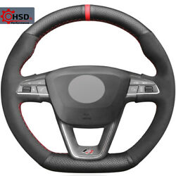 Leather Suede Stitched Sew Steering Wheel Cover For Seat Leon Fr Cupra R Ateca R