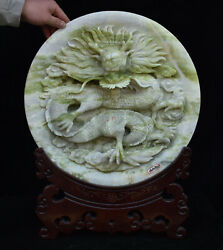 18 China Xiuyu Jade Hand Carved Dragon Loong Beast Plate Dish Fruit Tray Statue