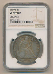 1859 S Seated Liberty Dollar. Ngc Vf Details