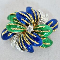 Vintage Toliro 18k Yellow Gold Brooch Pin With Enamel And Diamonds 22.8 G 1.7