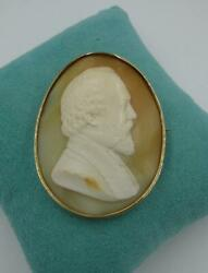 Rare Poet Robert Browning Cameo Brooch 14k Gold Museum Quality