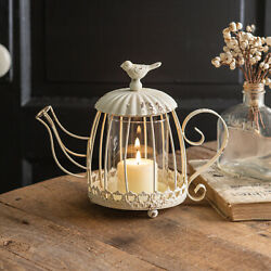 Unique Metal Tea Kettle Candle Holder With Bird Distressed Cream White Finish