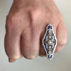 Awesome Art Deco Style Brilliant Shiny Cubic Zirconia With 925 Silver Fine Ring