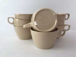 Vintage Texas Ware Cream Ivory Or Tan Melamine Stackable Coffee Cups Set Of 8