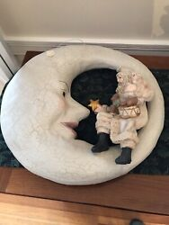Rare Bethany Lowe Santa Sitting On A Moon- With Sale Tag - Never Displayed