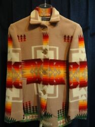 Vintage 50and03960and039s Pendleton Native Wool Jacket Coat Usa Old Beige Brown Color Rare