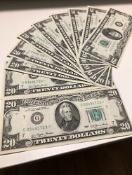 1977 20 Dollar Bill Star Notes 10 Consecutive Number Uncirculated Ef Very Rare