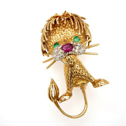 Solid 18k Yellow Gold Genuine Ruby Emerald And Diamond Cartoon Lion Brooch 17.1g