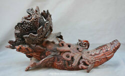 14 Collect Old Chinese Ox Horn Hand-carved Wealth Luck Cabbage Snail Sculpture