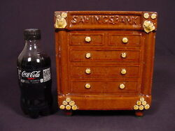 Rare 1800s Huge Chest Of Drawers Bank Rockingham Glaze Yellow Ware Red Redware
