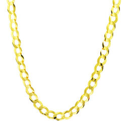 Solid 14k Yellow Gold Mens 7mm Cuban Curb Chain Link Necklace Lobster Clasp 28
