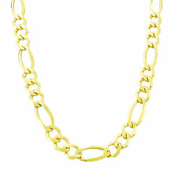Real 14k Yellow Gold Pure Mens 8mm Italian Figaro Chain Link Necklace 30 30in
