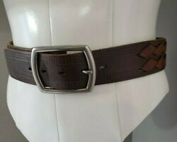 BUCKLE Brand Brown Leather Belt Brown Weave Design From The Buckle Store sz 38