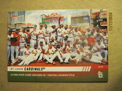 St. Louis Cardinals 2019 Topps Now 9-0 Win Over Cubs Secure Nl Central Division