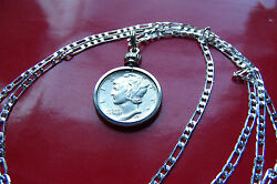 Top Quality Uncirculated Mercury Dime Pendant 28 925 Sterling Silver Chain