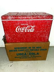 Rare Vintage Nos Coca Cola Molded Carry-lite Products Beach Cooler Coke Sign Ad