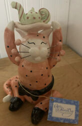 Whimsiclay Figurine MISS SILLY MILLIE TEA PARTY CAT 2003 Retired NWOB MINT