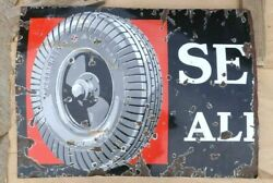 Vintage Seiberling All Treads Tire Sign Original Cut Now 32.5 By 24 Porcelain