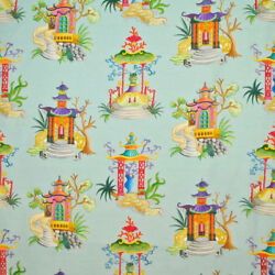 Clarence House Enchanted Pagodas Chinoiserie Toile Linen Fabric 10 Yards Teal