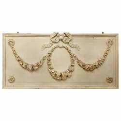 Swedish Over Door Palatial Carved Wood Panel Painted White, French, 19th Century