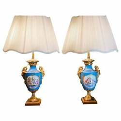 19th Century French Pair Of Celeste Blue Ground Sevres Style Vases