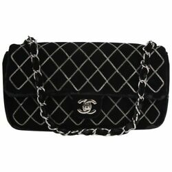 Rare Black Velvet Chain Quilted East West Cc Turnlock Classic Flap