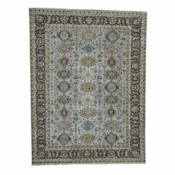 8and03910x11and0399 Karajeh Design Pure Wool Handknotted Oriental Rug G42931